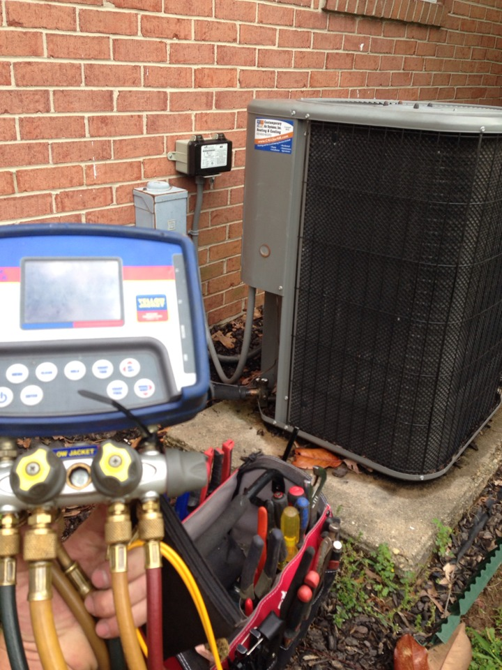 Essex, MD - AC repair service on Lennox air conditioner. The unit needed a new capacitor.