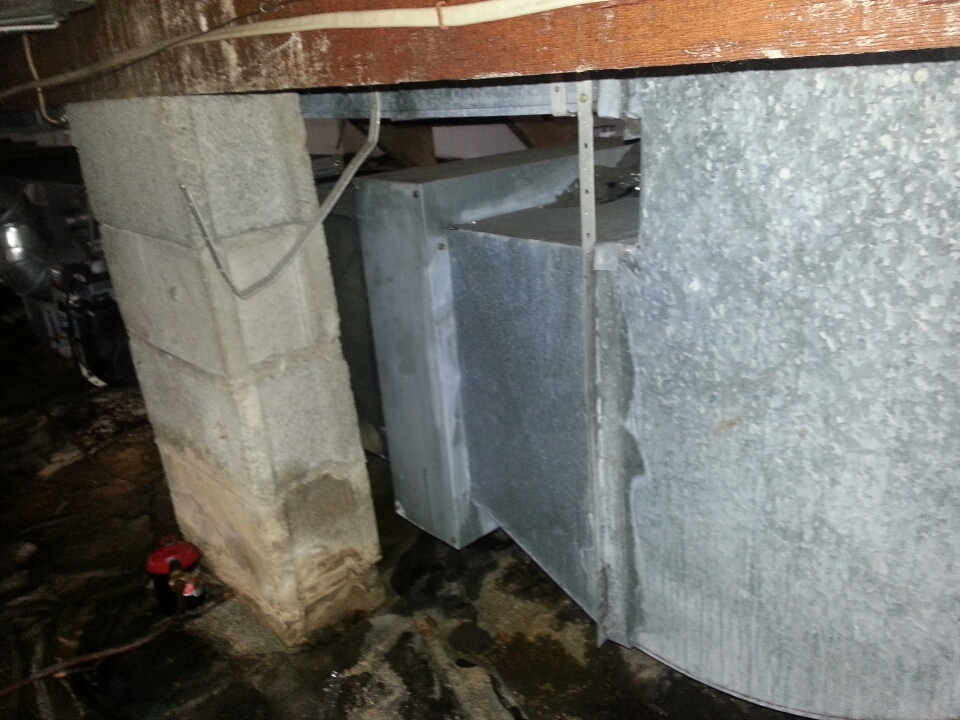 Essex, MD - ac service call. Repair duct work in crawl space for air conditioner.