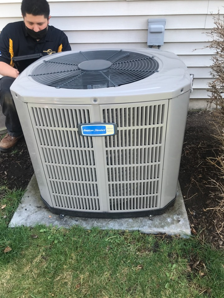 Oswego, IL - Preventative maintenance on American Standard air conditioning in Oswego Illinois