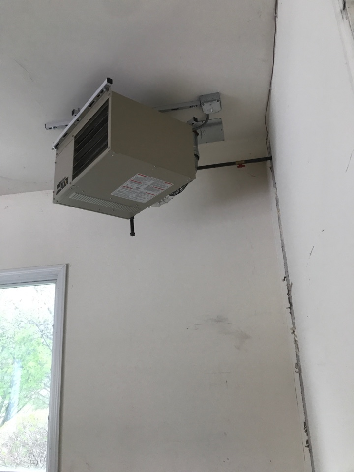 Naperville, IL - Installed customer provided unit heater in a garage in Naperville Il