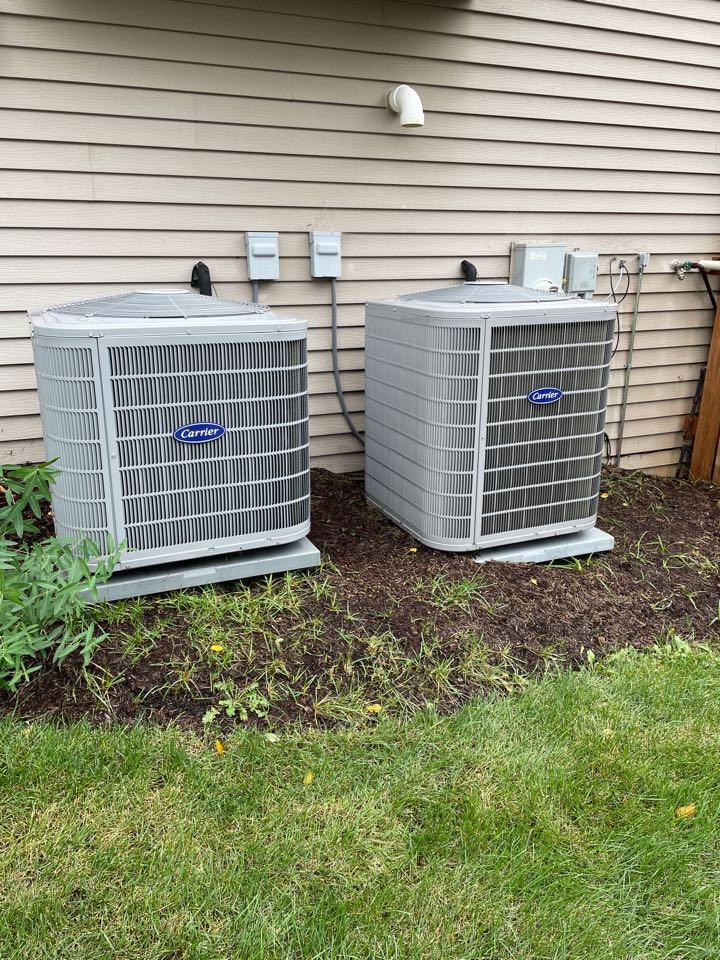 Oswego, IL - Doing a preventative maintenance on 2 A/C units in Oswego.