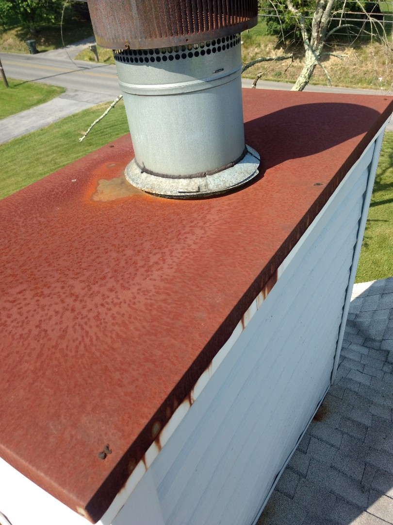Jonesborough, TN - This Chimney needs a Chimney Cap Replacement. We have them custom made for your chimney and professionally installed by our in-house crew.