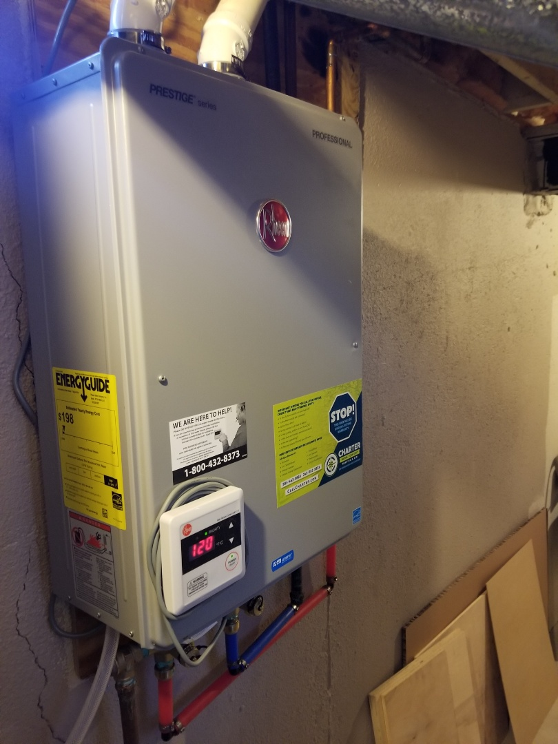 Macomb, MI - Installed new rheem tankless hot water heater.