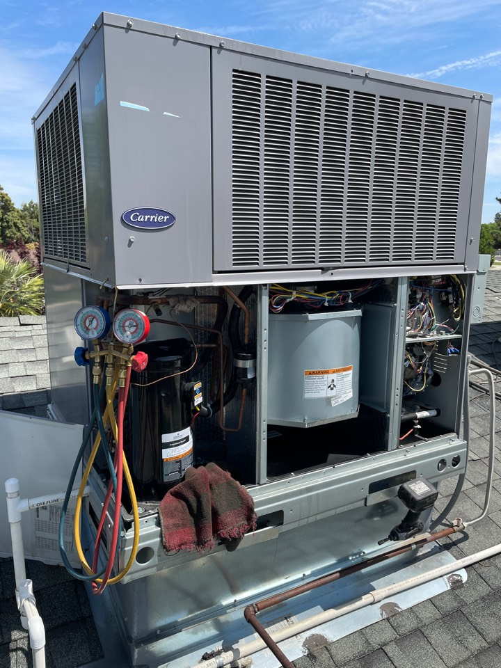 Visalia, CA - A/c service cleaned condenser coil checked electrical components checked bearings on blower and condenser motors tested unit voltage checked Freon pressures unit checked out fine.