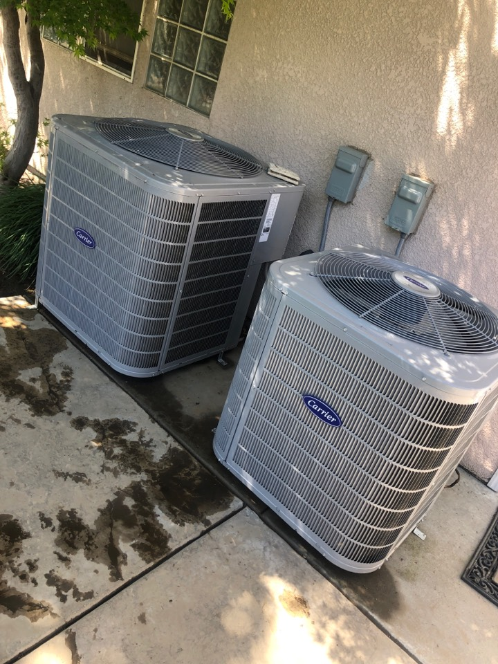 Visalia, CA - Routine Maintenance servicing two carrier splits units coil washing,filter change motor amp draws electrical an Freon pressure inspection