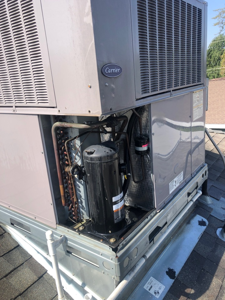 Hanford, CA - On a AC Maintenance inspection on compressor windings an wiring making sure system is functioning properly an also checking Freon pressures.