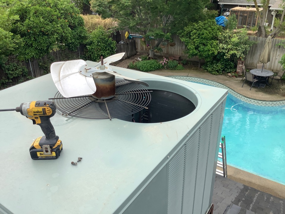 Visalia, CA - Preforming a summer maintenance service on a Rheem Classic, cleaning condenser coils, checking refrigerant pressures, insuring motors are running properly. Preforming a maintenance will prevent any hot summer breakdowns.