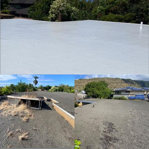 Honolulu, HI - This was a amazing transformation!!! Gaco System Coating. We removed all the Pitch and Gravel Roofing and Installed a Gaco Finish to this residential roofing project. Another Happy Customer in the Books.