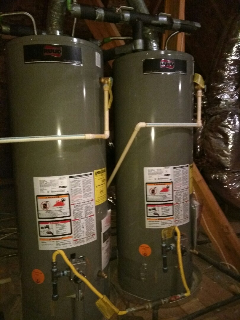 The Colony, TX - We provided an installed two new 50 gallon Rudd gas water heaters with two new ball valves and four new water Flex lines and to gas sediment traps. Also replaced for in Frostproof in backyard with new 4-inch Frostproof and replace to Flappers on commodes