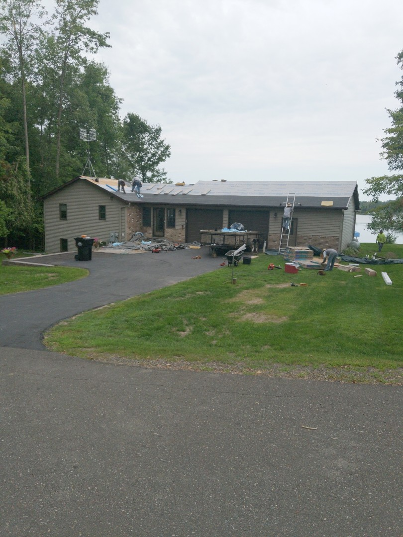 Balsam Lake, WI - Roofing cabin with certainteed asphalt shingles, color burnt sienna