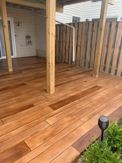 Bozeman, MT - Exterior patio in need of a make-over that wont brake the bank? Decorative concrete wood gives you that rustic wood look but with industrial strength!