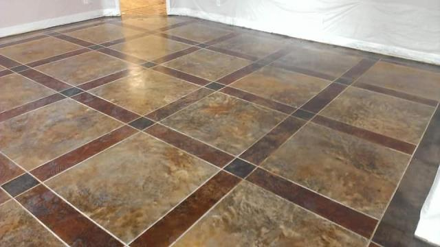 Sitka, AK - This floor looks amazing! If you need a great decorative floor coating done, you have to call TNT Specialty Coatings! They do some amazing floors! I don't know how they do it, and when I look at this floor, I can hardly believe its just a coating, but they really do do some fine work!
