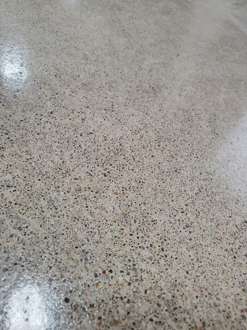We just finished grinding and shining this high gloss polished concrete. Near Edmond Oklahoma.