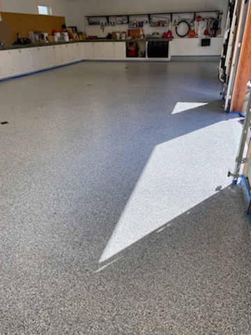 Here is a final product look at a garage floor coating we did near Anchorage Alaska.
