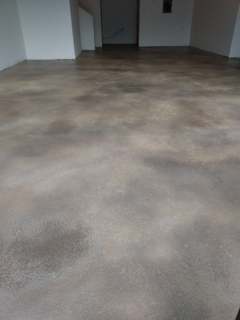 We just finished an overlay stone texture on this concrete floor. Near Fairbanks Alaska.