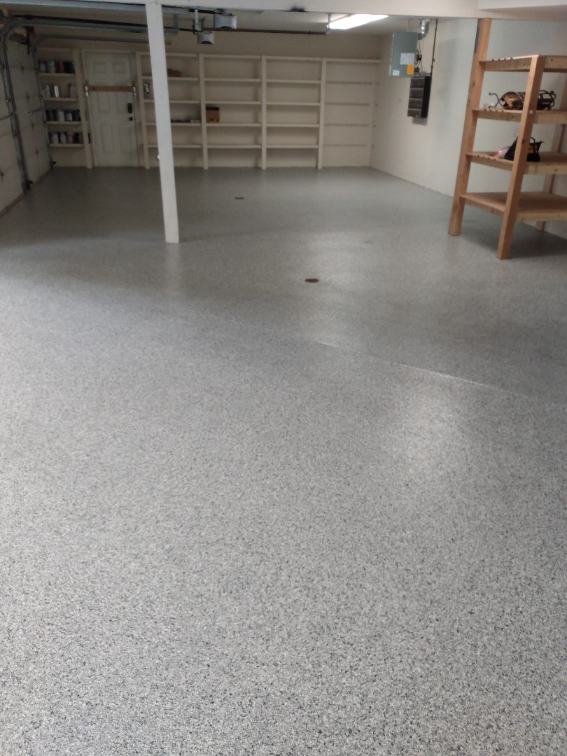 We are finishing up this flake system garage floor resurfacing job today. Near Palmer Alaska.