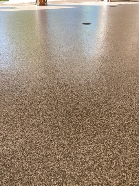 Anchorage, AK - The team just finished this epoxy flake concrete floor. Near Anchorage Alaska.
