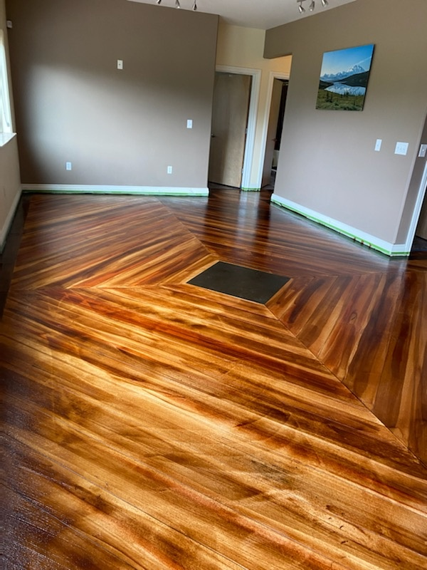Anchorage, AK - We are done with this rustic wood concrete floor resurfacing job. Near Anchorage Alaska.