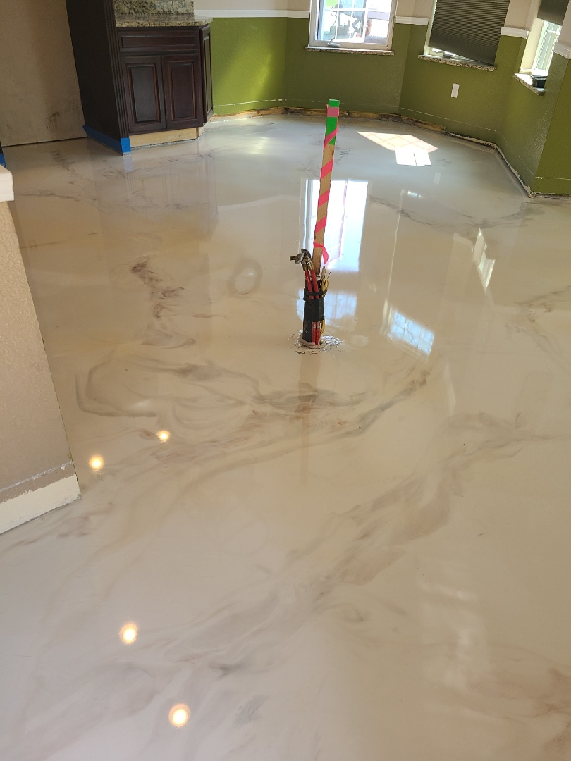 Fairbanks, AK - A fantastic decorative concrete marble flooring. A great project that shows what we can do with concrete floors. Near Fairbanks Alaska.