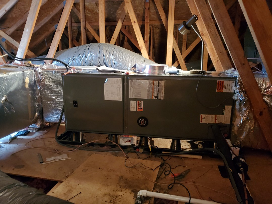 Towson, MD - Installation of a new RHEEM 20 SEER Inverter Heat Pump. The system is so good that the customer is ditching oil for this super high efficiency heat pump. YES, these new INVERTER Heat Pumps provide great heat for a home.