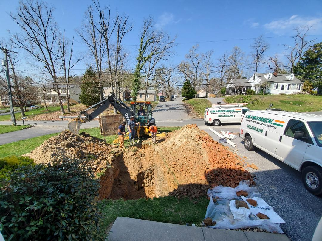 Perry Hall, MD - This customer reached out to us for a new Sewer Line. They were quoted over $8,000 by Roto Rooter. We are doing the job for less than $6,000. It will SAVE you money to call us for an estimate.