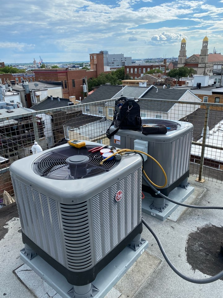 Baltimore, MD - We're installing 2 high efficiency heat pump systems on a rooftop downtown.