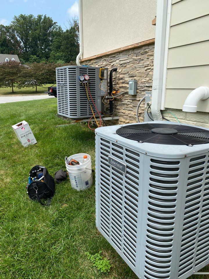 Baltimore, MD - Working on 2 HVAC systems that one is low on refrigerant from a leak. Performing a leak search and getting the ac back up and running again.