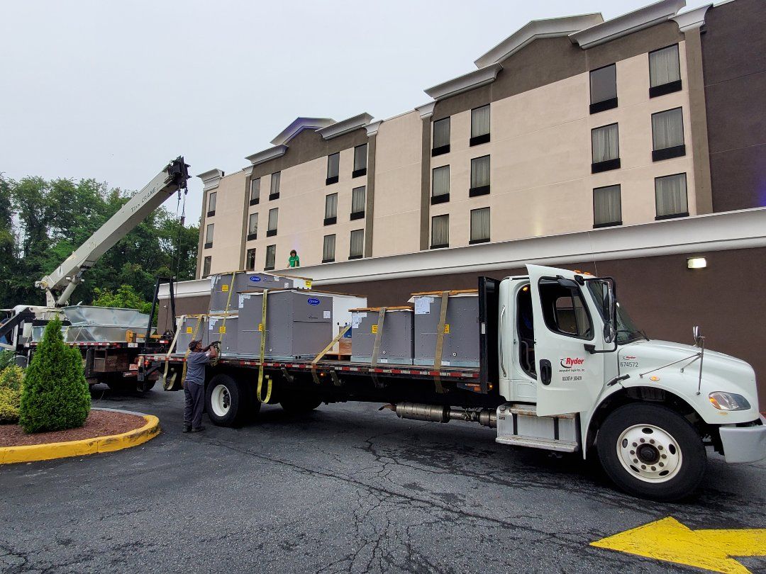 Towson, MD - Replacing 4 gas packaged rooftop units at the TOWSON COMFORT INN.