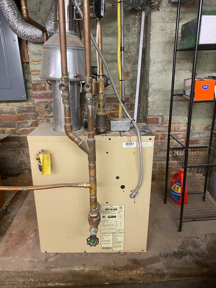 Baltimore, MD - Performing inspection on Weil McLain gas hot water boiler