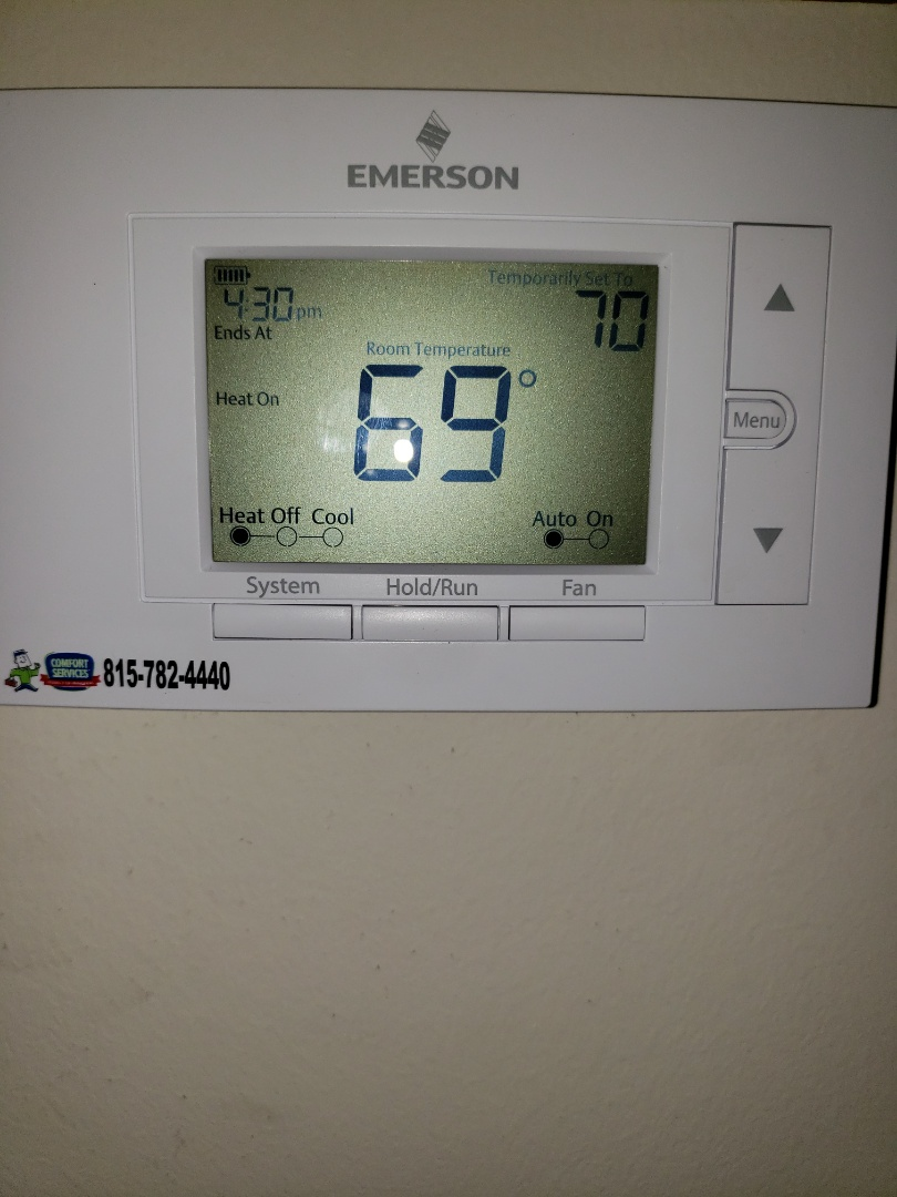 Romeoville, IL - Completed thermostat move to end of hallway. All equipment is working upon departure.