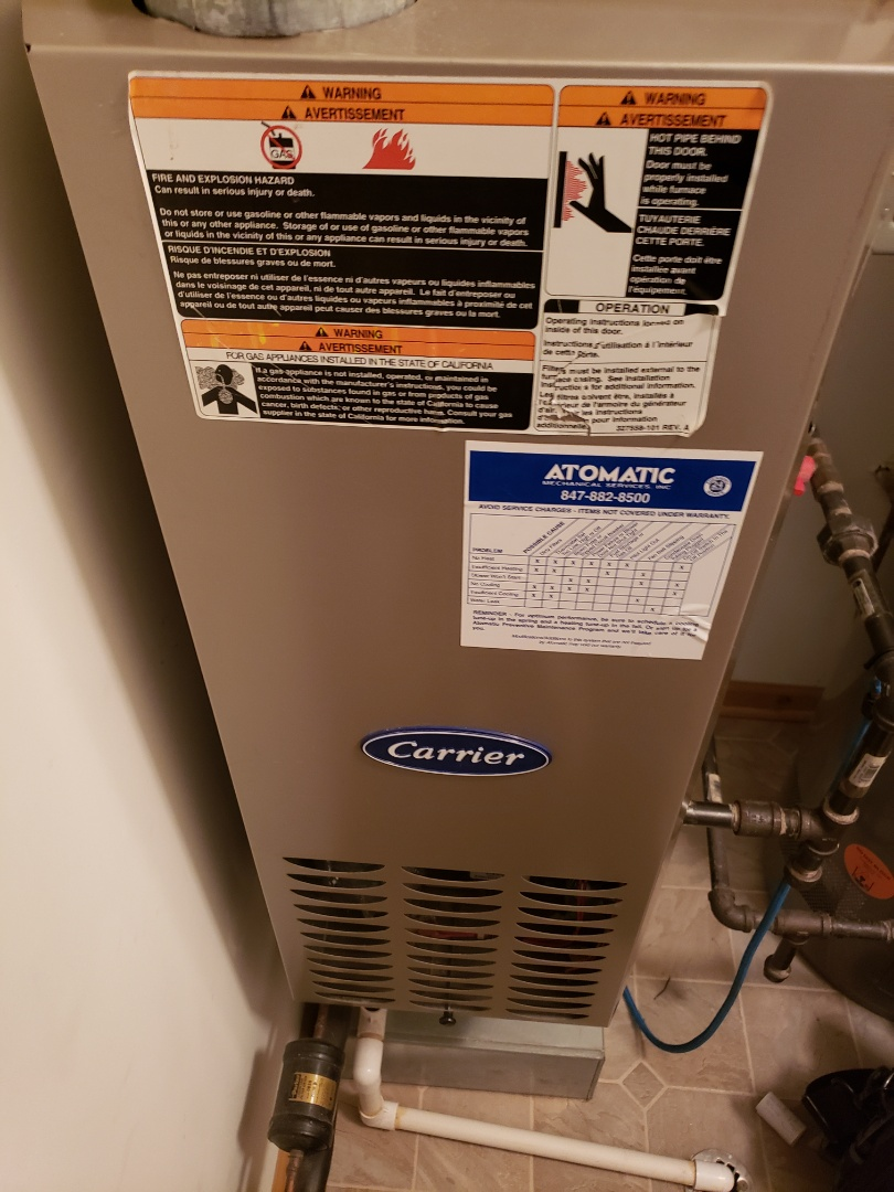 Complete furnace maintenance.  All equipment is working properly.