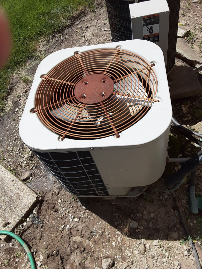 Complete ac maintenance. Replace dual.