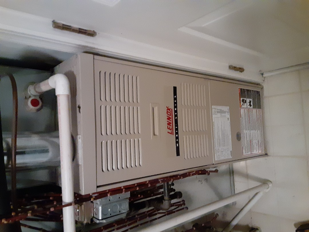 Complete furnace maintenance. Replaced thermostat.