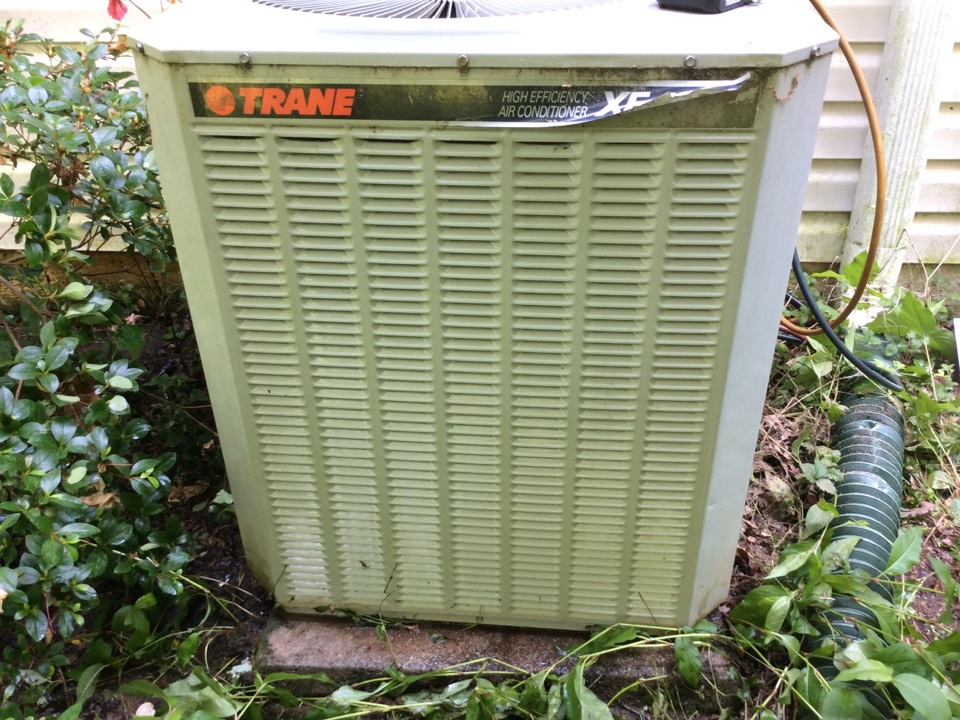Performed a tune up on 21 year old Trane condenser system was low on charge I added R-22 and left system operational