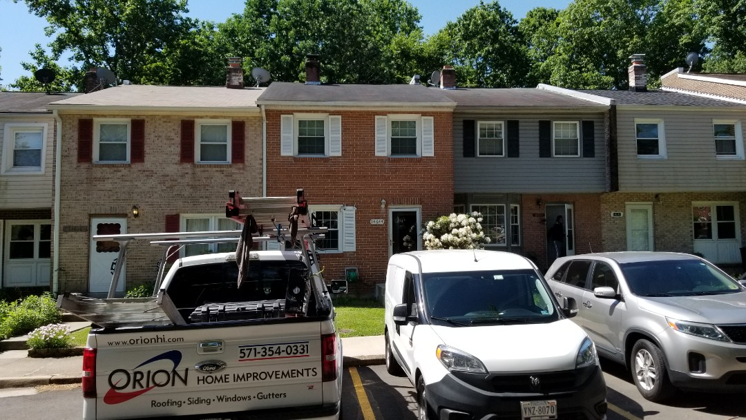 Woodbridge, VA - Gutter and downspout replacement in Woodbridge. New construction deck being built.  Homeowner didnt know to reach out to us while searching for a good carpenter to build a new fence in Woodbridge.  Will tackle that next year