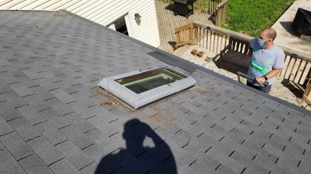 Burke, VA - With MASKS ON our team visits with a home owner to diagnose a roof leak. OrionHI rep Brian G. found a leaking skylight. The leak had been slow for quite some time and caused rotting to happen on the roof plywood. The rest of the roof is in decent shape so we were able to help this customer with a roof repair, changed the damage plywood roof deck and stopped the leaking skylight. Another happy Orion customer