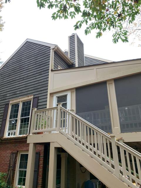 Reston, VA - OHI visited this customer's beautiful home to remove and replace the James Hardie siding and trim along the chimney, tying it in with the cricket section. This solution was the best option to solve our customer's problem.