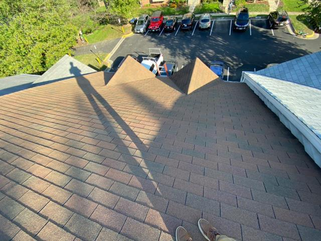 Springfield, VA - On this home, OHI removed and replaced one sheet of damaged CDX plywood and installed new felt paper, finishing it off with beautiful Cedar Brown GAF three-tab shingles.