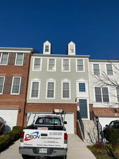 Woodbridge, VA - Full roof replacement completed in a three story townhome. Orion installed new Timberline HDZ Shingles in a popular Pewter Gray color.