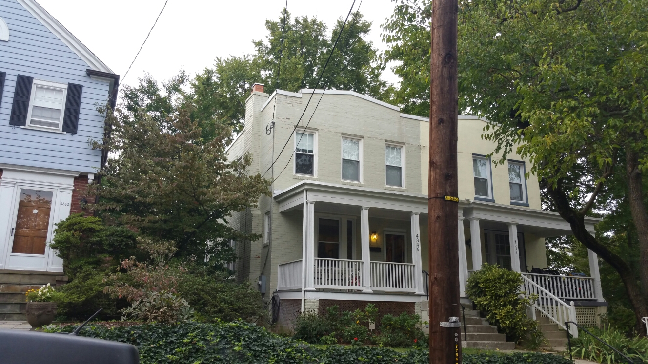Washington, DC - Flat roof replacement. Relocation of HVAC units. Flat roof over front porch replacement. Flat roof leaking.  Drainage system manipulation.  Washington DC row home townhouse.