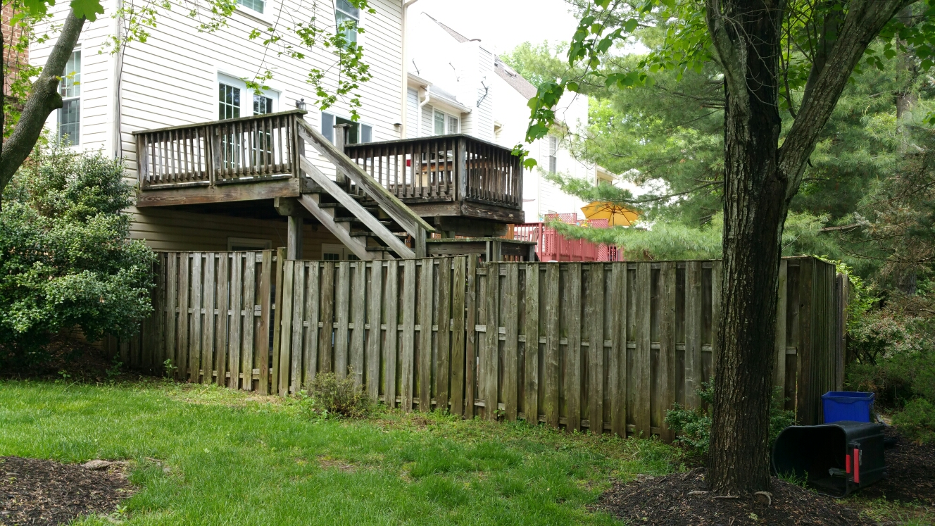 North Potomac, MD - Complete rebuild of fence. Shadow box new construction fence. Rebuild and reface deck. Full replacement of deck boards, hand rails, and steps or stairs. Will paint or stain deck after construction