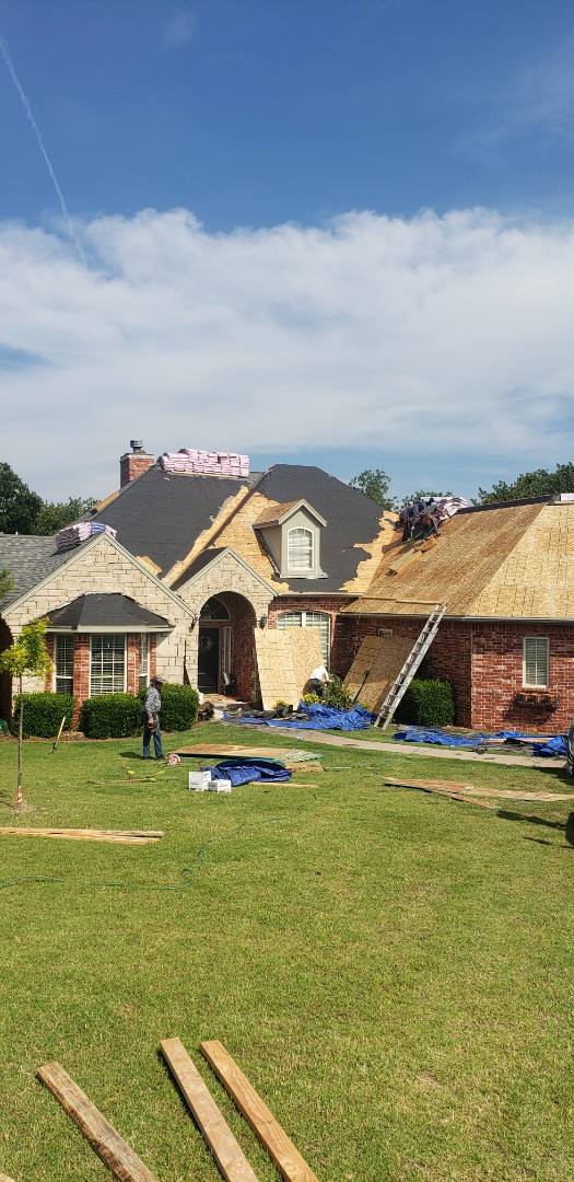 Blanchard, OK - When it comes time to plan for your new roofing system be sure you have a knowledgeable contractor that knows about code upgrades. This home in blanchard qualified for a deck over over the existing 1x8 decking material. To complete the roof we are going back with the GAF timberline HD in weatherwood.  Call today for your free inspection. 405-990-9354