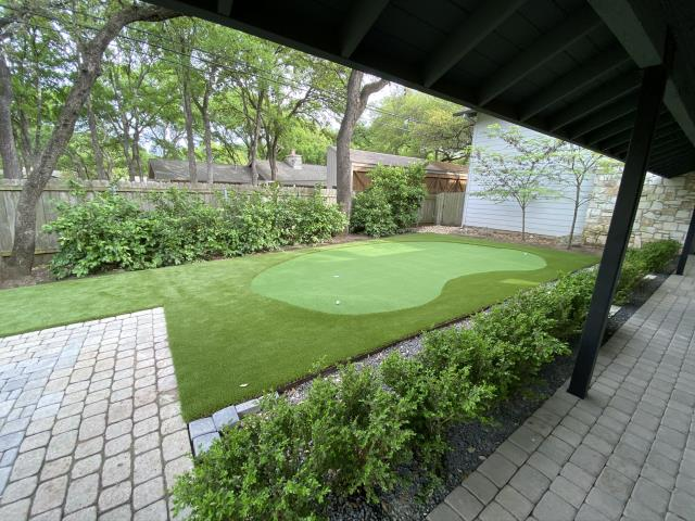Austin, TX - This Austin Texas home in the Northwest Hills neighborhood will start saving water and maintenance fees with a new LawnPop artificial turf yard and putting green.