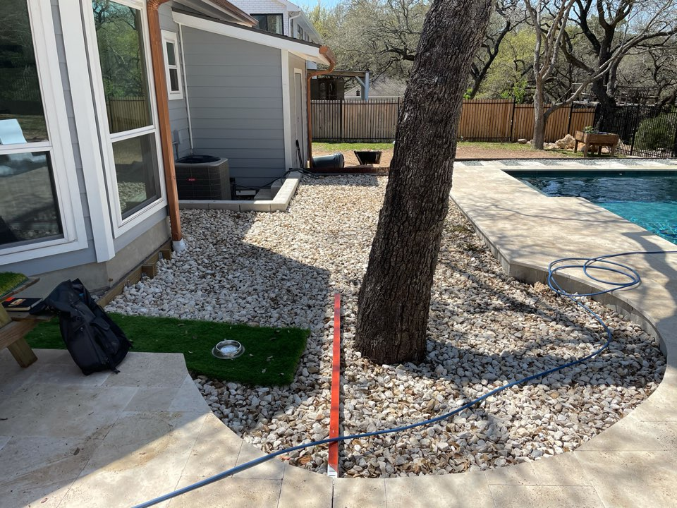 Austin, TX - This LawnPop Artificial Grass project around the pool will enhance the landscape. The homeowner has pets and kids who will be using the LawnPop synthetic turf. This design and eco-friendly conservative method is saving homeowners time and money.