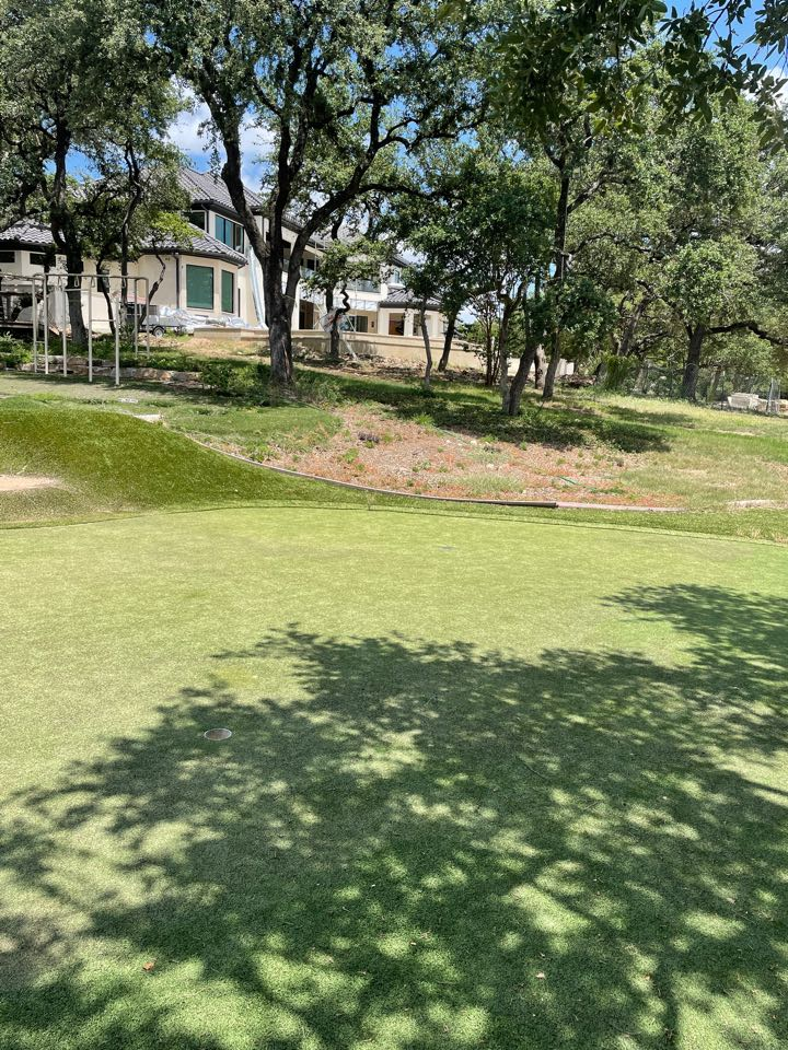 Austin, TX - We are installing a LawnPop Artificial Grass for putting green at this Austin Texas West Lake home. This three whole putting green and chipping green will sit on the property. This also includes a children's play area with playground Turf and Pat Turf. LawnPop synthetic grass is a great solution for this estate on a large piece of property.