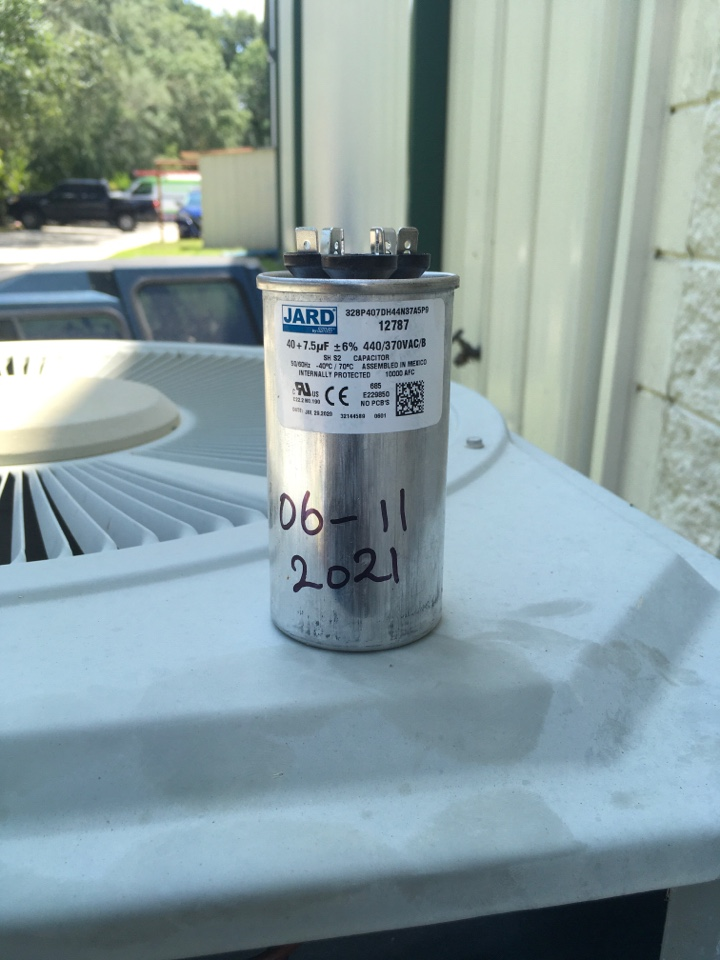 Winter Garden, FL - AC Repair Orlando - Replaced condenser capacitor on a Trane AC System for a family.