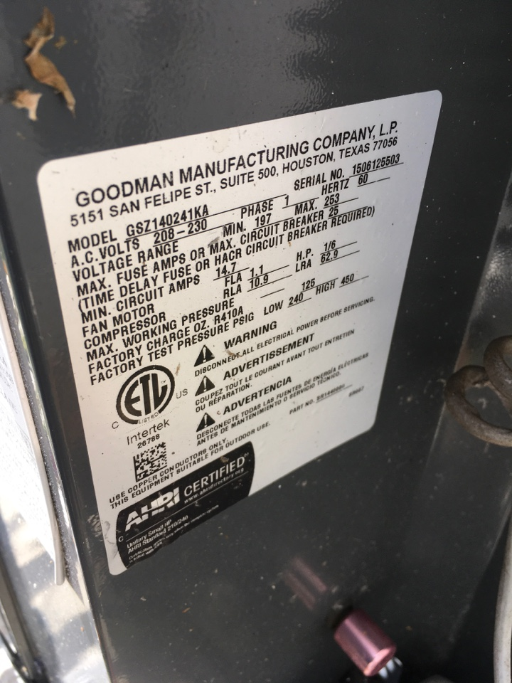 Kissimmee, FL - Repaired a Goodman system for a family at Kingston cir Kissimmee