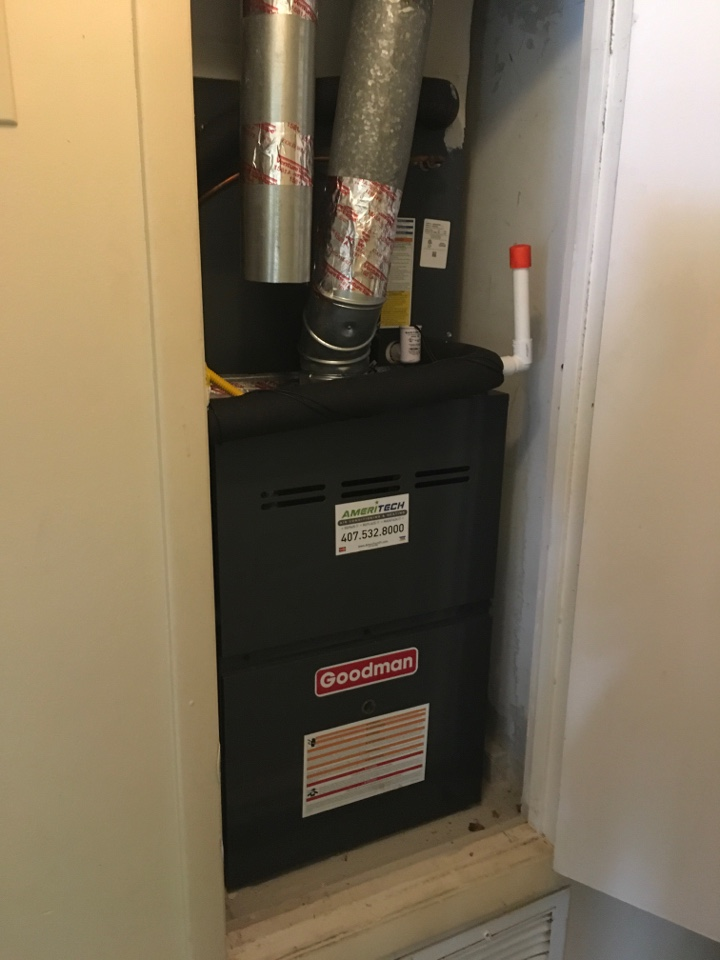 Orlando, FL - Maintenance on a Goodman furnace for a family at crown ct Orlando
