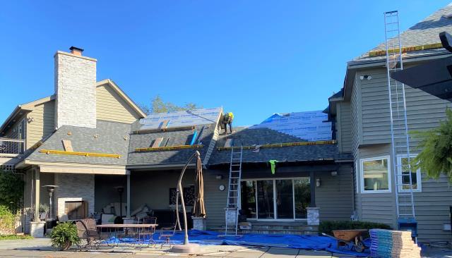 Roof replacement; CertainTeed Landmark Georgetown Gray.