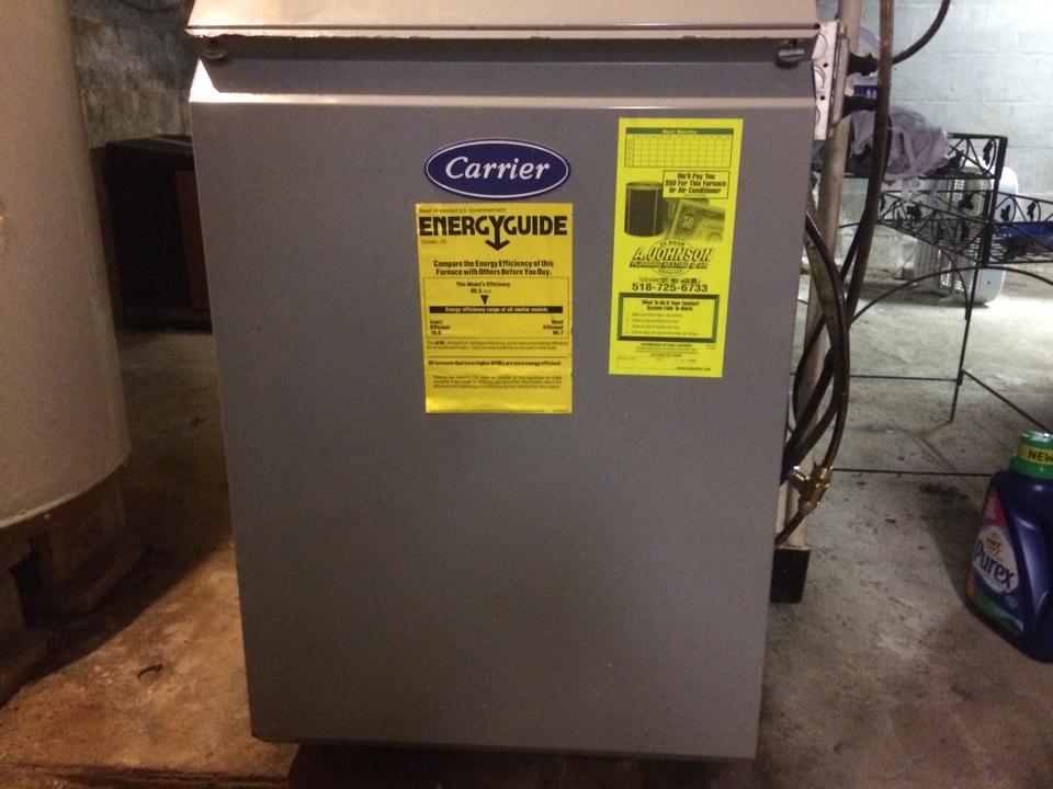 Fort Johnson, NY - Install oil line check valve on Carrier oil furnace
